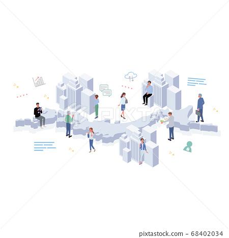 일본에서 일하는 사람들 빌딩과 아이콘과 사람들 일러스트 사시 68402034