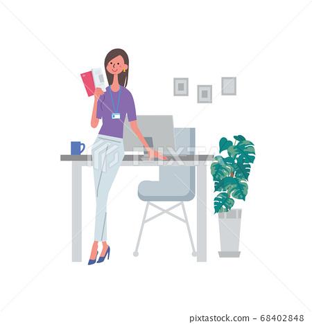 讀一本書的女人一個女人拿著資格學習材料的插圖 68402848