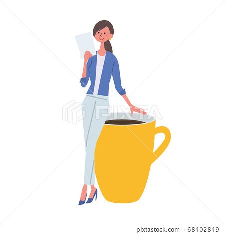 커피 한잔에 기댈 서류를 손에 여성 일러스트 68402849