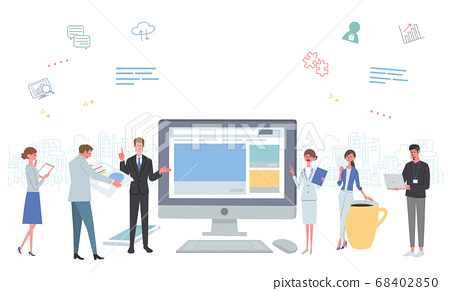 People working in the office PC network icon illustration 68402850