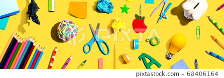 Collection of school supplies 68406164