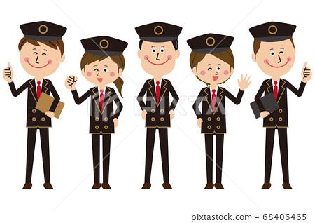 車站工作人員或的士司機或飛行員的男女聚集並擺姿勢 68406465