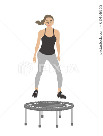 Woman exercising on the trampoline 68406955