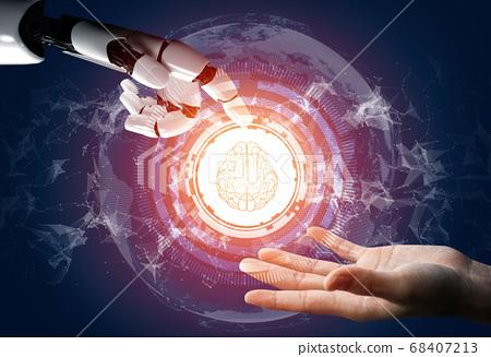 Futuristic robot artificial intelligence concept. 68407213