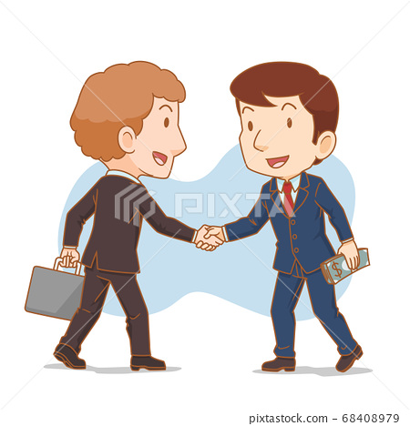 Cartoon illustration of two businessman shaking hands. Business partners. 68408979