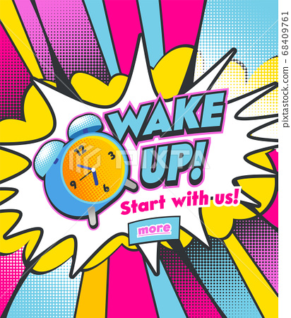 Alarm Clock Ringing on Colorful Half Tone Dotted Background. Vintage Colorful Watch Running and Bell to Wake Up at Morning 68409761