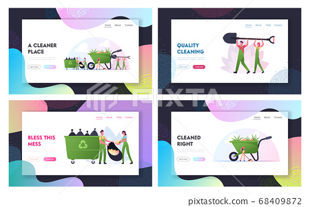 Ecology Protection, Volunteering Landing Page Template Set. Characters Cleaning Garbage, Planting Plants at House Yard 68409872