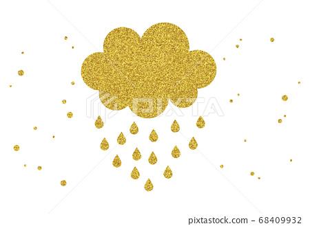 金色亮片元素設計-雨雲 68409932