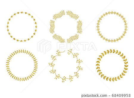 金色亮片元素設計-圓形邊框 68409958