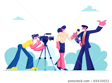 Mass Media Announcement of Live News, Tv Broadcasting with Cameraman and Reporter. Female Journalist Taking Interview 68410052