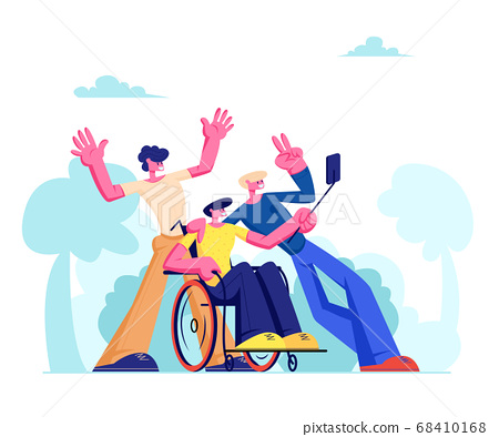 Group of Friends with Disabled Man in Wheelchair 68410168