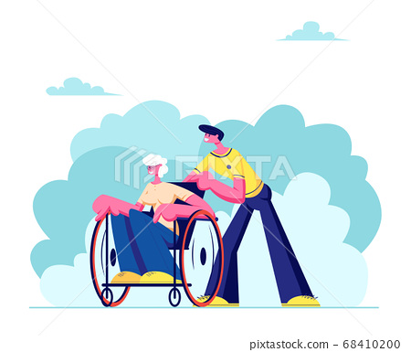 Young Grandson Spend Time with Disabled Grandma Outdoors. Social Worker Care of Sick Senior Woman Sitting in Wheelchair 68410200