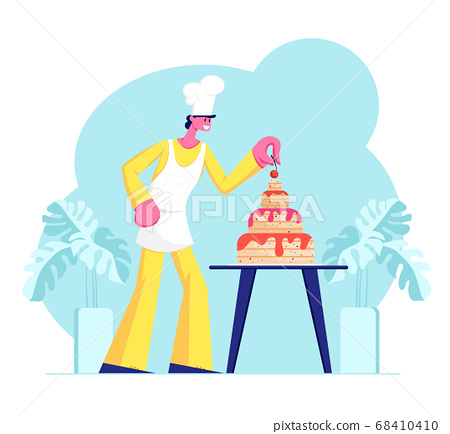 Bakery Chef Character in Uniform and Cap Cook Festive Cake Decorating with Cream and Berries. Dessert for Birthday or Wedding 68410410