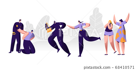 Police Officers Work. Policeman Putting Handcuffs 68410571