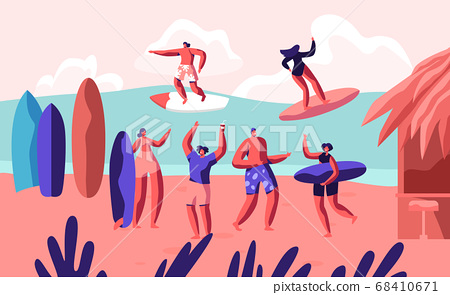 Young Surfers Riding Sea Wave on Surf Boards 68410671