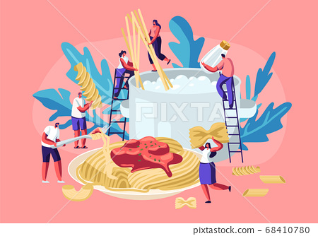 Male and Female Characters Cooking Pasta, Putting Spaghetti and Dry Macaroni of Various Kinds, Fusilli, Conchiglio, Rigatoni 68410780