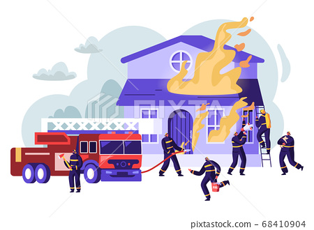Group of Firemen Fighting with Blaze Working 68410904