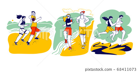 Happy Couple Man Woman Characters in Sports Wear and Sneakers Running on Beach. Summer Outdoor Sport Activity, Jogging 68411073