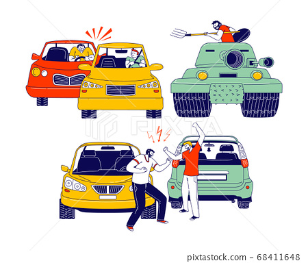 Car Accident or Conflict on Road, Drivers Men Arguing Standing on Roadside at their Automobiles. Insurance Situation 68411648