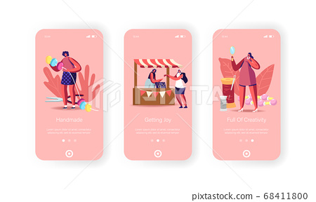 Diy, Handmade Craft Mobile App Page Onboard Screen Template. Jewelry Designers Characters Create and Sell Bijouterie 68411800