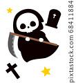 死神和坟墓万圣节怪物图 68411884