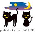 Black cat Halloween illustration 68411891