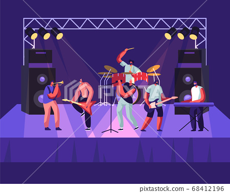 Rock Band Performing on Stage. Electric Guitarists, Drummer, Singer, Trumpeter Music Concert. Men Artists in Rocking Outfit 68412196