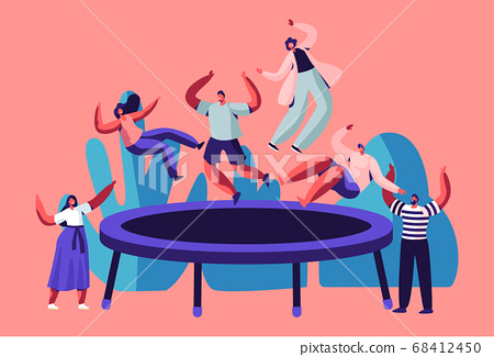 Happy Teens Jumping on Trampoline, Friends Cheering. Young People Having Fun Jump and Bouncing, Spare Time, Activity, Amusement 68412450