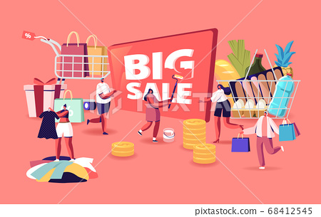 Big Sale. Characters Shopping at Seasonal Discount. Cheerful Shopaholic People with Trolley Full of Purchase and Grocery 68412545