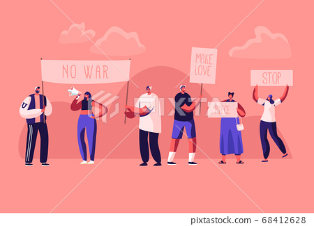 Protesting People with Placards and Signboard on Strike or Demonstration, Male, Female Activist Characters with Banners and Signs 68412628