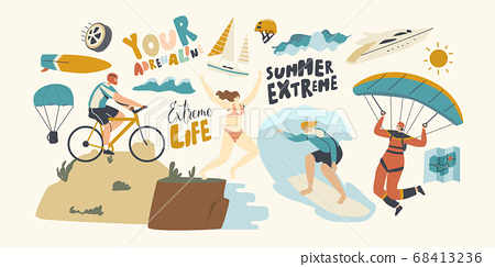 Characters Summer Extreme Sport Activity Surfing, Paragliding, Mountain Biking, Jumping from Edge. Sports People Relax 68413236