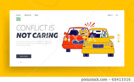 Traffic Situation Landing Page Template. Car Accident or Conflict on Road, Drivers Male Characters Arguing and Signaling 68413316