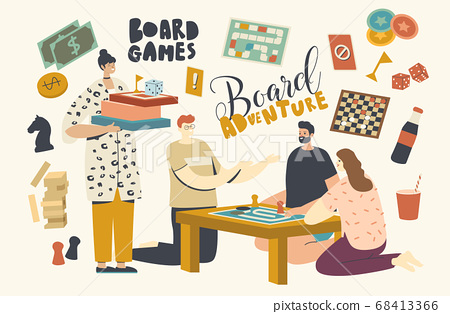 Characters Playing Board Games. Group of Young People Play Together on Weekend Sitting Around Table, Time with Friends 68413366