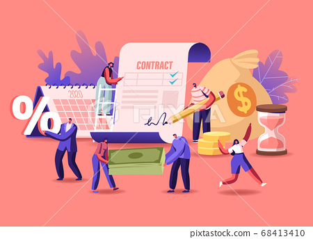 Tiny Male Female Characters Signing Loan Contract. Men and Women Borrowing Money at Bank for Mortgage, Buying Property 68413410
