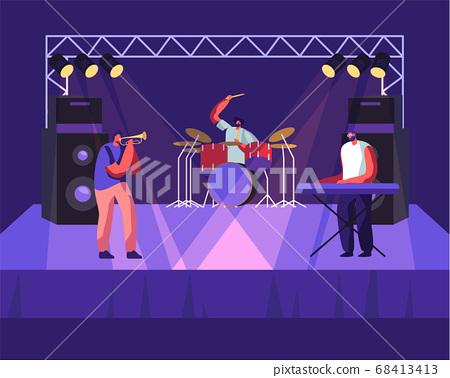 Rock Band Performing on Stage, Drummer, Trumpeter and Man Playing Electric Piano Synthesizer, Music Concert. Men Artists Playing 68413413