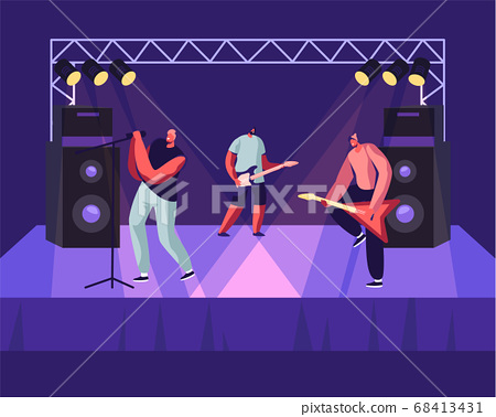 Rock Band Performing Musical Concert on Stage. Electric Guitarists and Singer Stand near Huge Dynamic on Scene, Artists Music 68413431