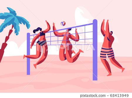 Young People Playing Beach Volleyball on Seaside 68413949