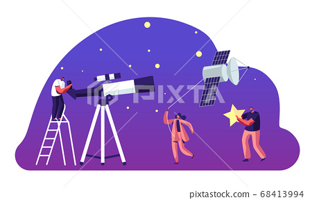 Astronomy Science, Character Watching on Space at Telescope, Woman Pull Sputnik as Kite, Studying, Cosmos Exploration, Scientific 68413994