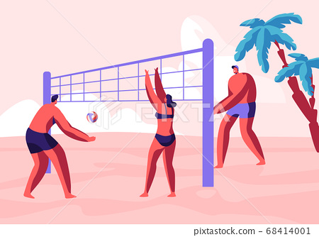 Teenagers Team Playing Beach Volleyball on Coast 68414001