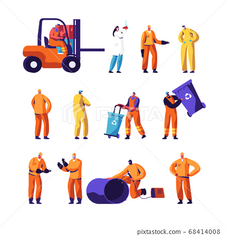 Garbage Recycling and Metallurgy Factory Workers Set. Ecology Protection and Pollution Industry Employees, Welder 68414008