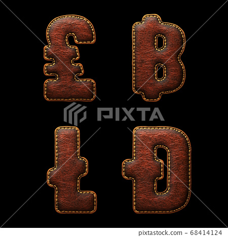 Set of symbols lira, baht, litecoin, dashcoin made of leather. 3D render font with skin texture isolated on black background. 68414124
