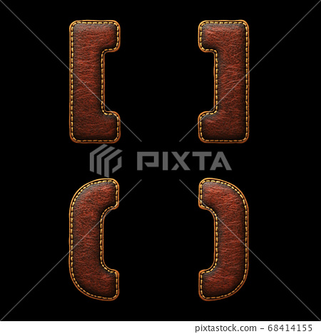 Set of symbols left, right bracket and perentheses made of leather. 3D render font with skin texture isolated on black background. 68414155