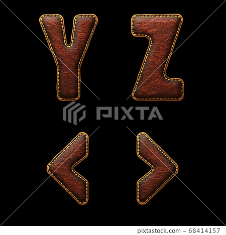 Set of leather letters Y, Z and symbol left, right angle bracket uppercase. 3D render font with skin texture isolated on black background. 68414157