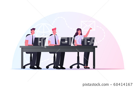 Characters Sitting at Office Desk with Laptops Take Part in Online Meeting or Briefing. Remote Communication, Internet 68414167