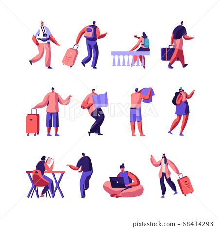 Set of Diverse Young People with Luggage and Maps Traveling and Stay in Hotel or Hostel. Male, Female Tourist Characters 68414293