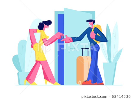 Man with Luggage Stand near Door Rent Apartment 68414336