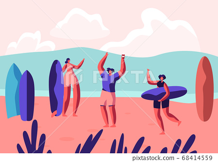 Surf Party on Exotic Seaside Resort. Sportsmen 68414559