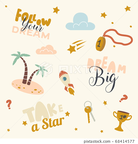 Icons Set Follow Dream, Take Star from Sky. Creative Pattern with Palm Trees, Winner Medal and Bunch of Keys Gold Goblet 68414577