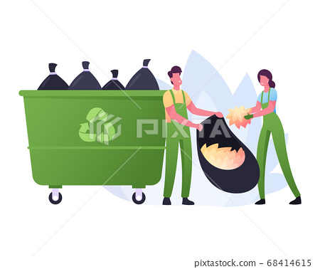 Volunteer Characters Cleaning Garbage or Fallen Leaves at House yard or City Park Area. Volunteering, Collecting Trash 68414615