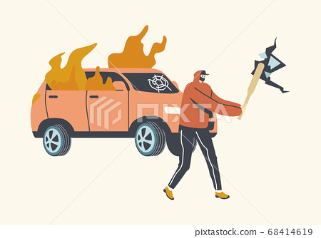 Aggressive Looter Male Character with Hidden Faces and Baseball Bat Breaking Wall and Car on Street. Vandalism, Violence 68414619